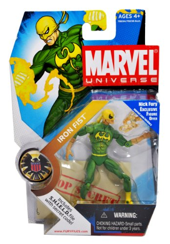 Buy Low Price Hasbro Marvel Universe Year 2008 Series 1 Single Pack 4 Inch Tall Action Figure #17 – IRON FIST with Energy Flame Plus Bonus S.H.I.E.L.D File with Secret Code (B004FP5U24)