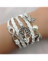 SheClub® Wax Rope Braided White Bracelet, Infinity/ Infinity Wish / Birds Swallow with White Pearl Bead/ Wish Tree Life of Tree Bracelet, Friendship Bracelet,