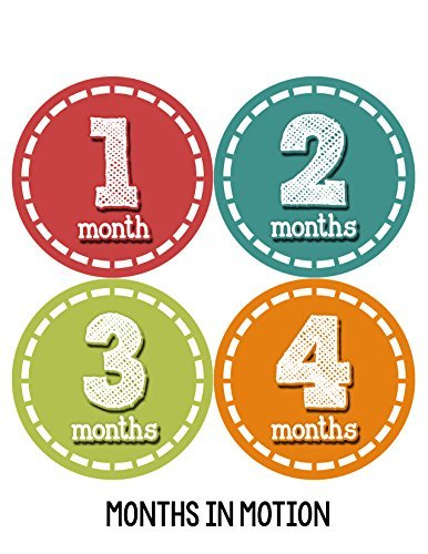Months in Motion 078 Monthly Baby Stickers Baby Boy Month 1-12 Milestone Age