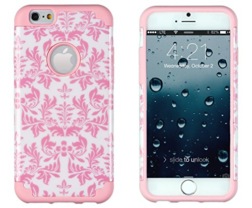 """Iphone 6, Dandycase 2In1 Hybrid High Impact Hard Pink & White Flower Pattern + Silicone Case Cover For Apple Iphone 6 (4.7"""" Screen) + Dandycase Screen Cleaner"""