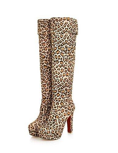 Stiletto – Beflockung – FRAUEN – Kniehohe Stiefel – Plattform/Fashion Boots – Stiefel ( Schwarz/Blau/Braun/Tiere muster ) jetzt kaufen