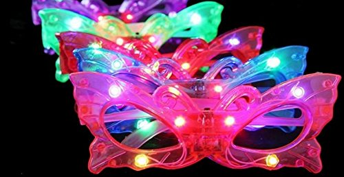 BEST PARTY FAVORS OF 2016! 12 Piece High Quality Adorable Butterfly Light Up Flashing Glasses For Children (4 Colors: Red, Green, Blue, & Pink)- With Push On/Off Button for All Occasions