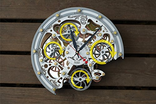 d6cb12885dd2 Automaton Bite 1682 White HANDCRAFTED moving gears wall clock by  WOODANDROOT transparent steampunk wall clock, unique, ...