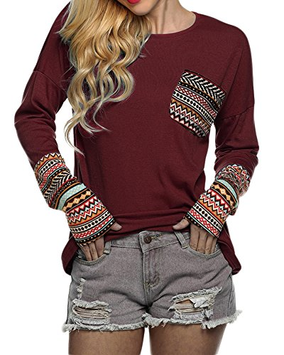 POGTMM Women Long Sleeve O-Neck Patchwork Casual Loose T-shirt Blouse Tops