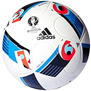 Adidas Top Replique Ballon UEFA Euro 2016 White/Bright Blue/Night Indigo Taille 5 (AC5450)