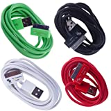 The Friendly Swede (TM) Bundle of 4 Colorful 6 Foot / 6-ft USB Data Sync Cables for Apple iPhone 4 4S 3G 3GS iPod Touch and iPad 1 2 3 - Retail Packaging -Full iPad Compatibility (black, red, white, green)