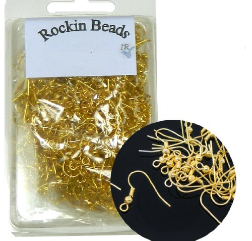Rockin Beads Brand, 400 Basic Earring Gold Plated Fishhook with 18mm Ball and Coil with Open Loop 21 Gauge. 200 Pairs. (Nickle Free Earring Hooks compare prices)