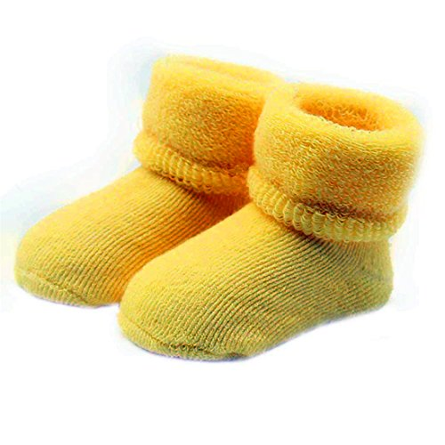 HANYI Baby Toddlers Combed Cotton Ankle Socks (0-12M, yellow)