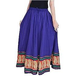 SHREEMANGALAMMART Rajasthani Blue Cotton Skirt(Violet)(SMSKT511)