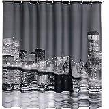 おしゃれ 海外 風景 シャワー カーテン 180 × 180 cm リング付 景色 レトロ シック 浴室 部屋 仕切り 目隠し 防水 防カビ (ニューヨーク)