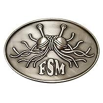 Flying Spaghetti Monster Belt Buckle - antique silver finish
