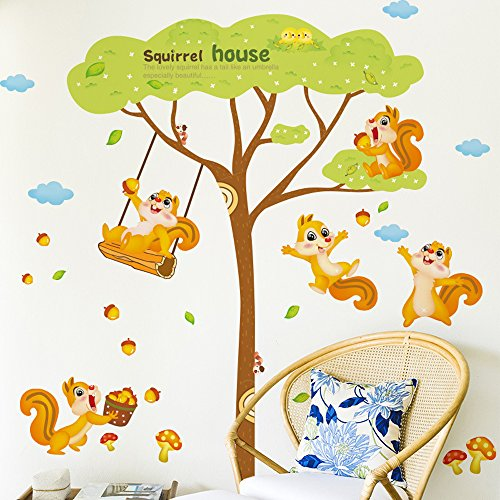 Kaimao Two Pieces Cartoon Animals Cute Squirrel Decorative Wall Stickers Removable Murals Home Decals for Kids Baby Bedrooms Nursery Schools