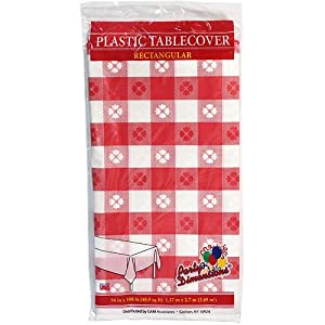 "Party Dimensions 54"" X 108"" Inch Rectangle Tablecover, Red and White, Gingham Pattern"