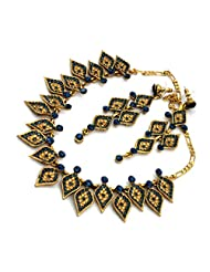 Mychamakbangles Fashion Jewellery Gold Tone Sapphire & Gold Austrian Crystal Wedding Party Necklace Set With Earrings...