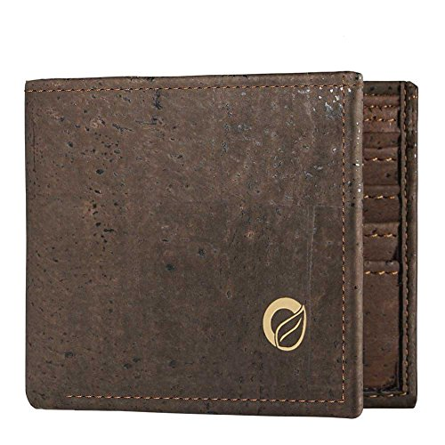 Vegan Wallet Men, Slim Bifold, Cork Wallet from Portugal, Gift for Vegetarian, Dark Brown