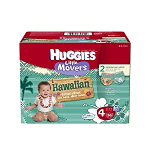 Huggies Supreme Little Movers Hawaiian Diapers, Big Pack, Size 4, 56 Count