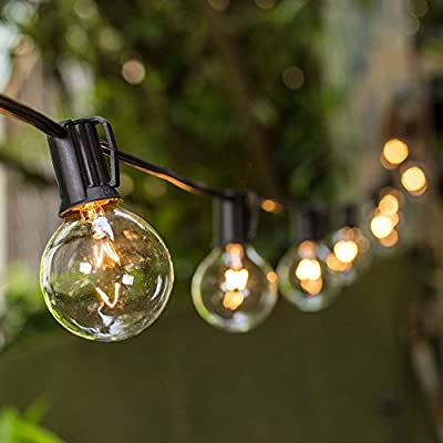 Globe String Lights, 2 Inch E17 Bulbs, Incandescent, 100 Foot Black Wire C9 Strand, Patio Bistro Globe String Lights, Event, Wedding, Display, Outdoor, (Clear)