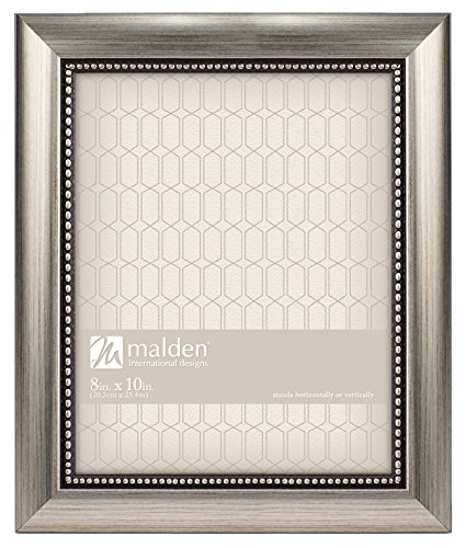 Malden International Designs Champagne Beaded Pewter Picture Frame, 8 by 10-Inch, Silver