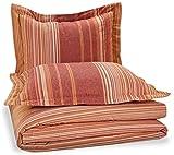 Pinzon Lightweight Cotton Flannel Duvet Set - King, Orange Stripe