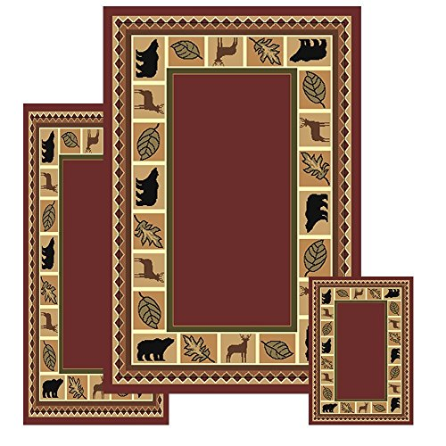 Furnishmyplace 3 Piece Wildlife Bear Moose Rustic Lodge Cabin Lodge Carpet Area Rug (Red Bear Moose Rug Set) (Moose Kitchen Decor compare prices)