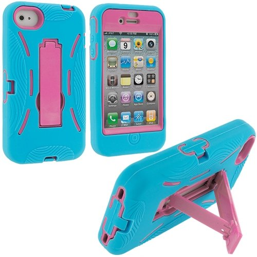Cell Accessories For Less (Tm) Baby Blue / Pink Hybrid Heavy Duty Hard/Soft Case Cover With Stand For Apple Iphone 4 / 4S + Bundle (Stylus & Micro Cleaning Cloth) - By Thetargetbuys front-994118