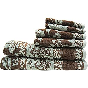 Better Homes And Gardens Thick And Plush 6 Piece Cotton Bath Towel Set Brown Aquifer
