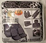Premium New Style Grey Leopard 11pc Low Back Front Seat Covers, Bench Seat Cover with Head Rest, Steering Wheel Cover with Shoulder Pads