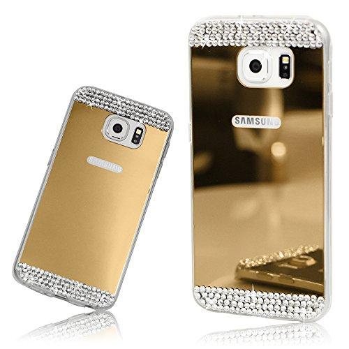 Xtra-Funky Serie Samsung Galaxy S6 Edge silicone TPU sottile cassa dello specchio lucido con strass in cristallo scintillante diamantes - Oro
