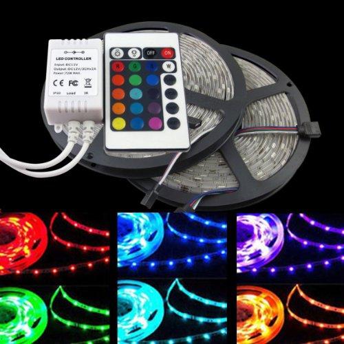Hossen® 32.8Ft 10M Smd 5050 600Leds Water-Resistant Flexible Rgb Led Strip Lighting + 24Key Remote