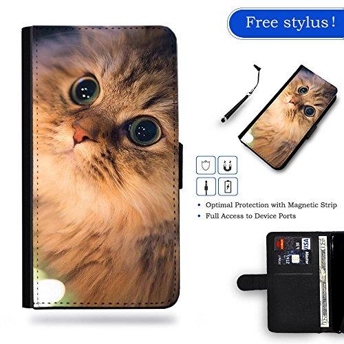 Nuovo Pelle Portafoglio della copertura della cassa borsa Custodia protettiva Huawei Ascend P8 // Eyes like diamonds bright kitten cat Eyes like diamonds bright kitten cat Gift Shopping