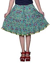 Pezzava Beautiful Cotton Printed Green S.Skirt