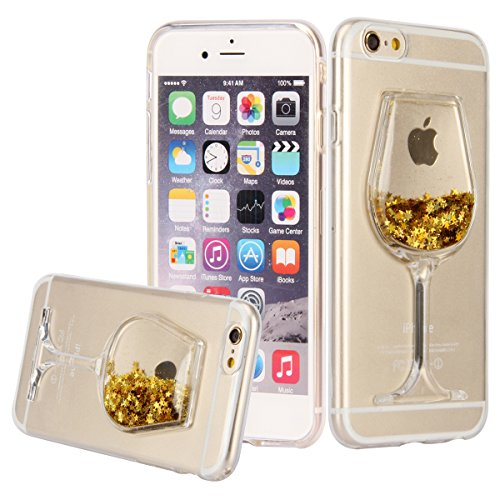 iPhone 6S Case, UZZO [Liquid Glitter] [Crystal Clear] Flexible Soft TPU Case for iPhone 6/6S, Wine Glass Bling Glitter Love Heart Flowing Silicone Gel Back Case For iPhone 6 /iPhone 6S (Gold) (Wine Iphone 6 Case compare prices)