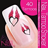 Nail Tattoo Heart with Wings - red