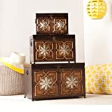 3 PC Designer Accent Trunk Box Table Set