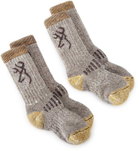 c9a02df4f0b Browning Hosiery Unisex Child Uplander Merino Wool Kids Sock 2 Pair Pack  Grey Gold Small Reviews