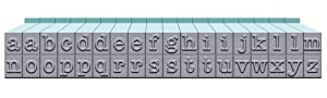 Contact USA Small 36-Piece American Typewriter Pegz Connectable Lowerase Alphabet Stamp Set Pool Blue (F?ur Pa?k, Pool Blue) (Color: Pool Blue, Tamaño: F?ur Pa?k)