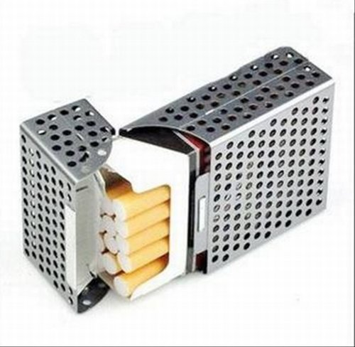 SR ☆ cigarette cases cigarette cases cigarette crate box soft lightweight perforated aluminum all 3 colors [GreeParty] (Silver)