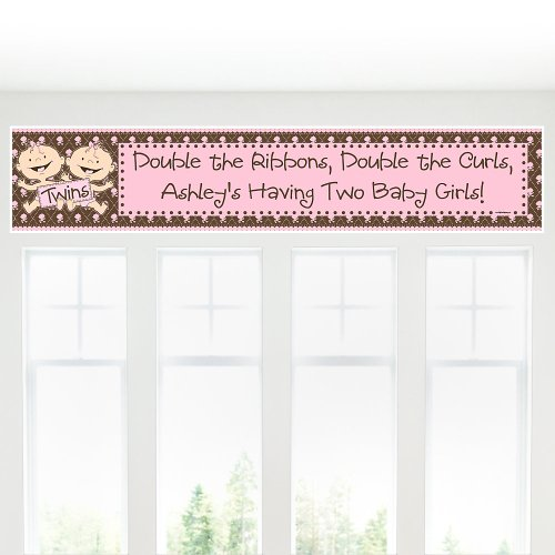 Banner - Twin Modern Baby Girls Caucasian Personalized Baby Shower Banner front-26909