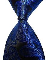 Pisces.goods New Royal Blue Paisley JACQUARD WOVEN Men's Tie Necktie