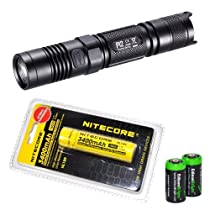 NITECORE P12 950 Lumens high intensity CREE XM-L2 LED long throw tactical flashlight with Nitecore NL189 3400mAh rechargeable 18650 Battery and 2 X EdisonBright CR123A Lithium Batteries Bundle