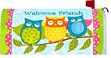 """"""" Welcome Friends Owls """" - Decorative Mailbox Makeover - Rural Size Mailbox Magnetic Cover"""