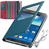 Rasfox® Luxury Leather Smart S View Flip Cover Folio Case & Free Geometry Earphone with Mic For Samsung Galaxy Note 3 III N9000 N9005 N9006 (Turquoise)