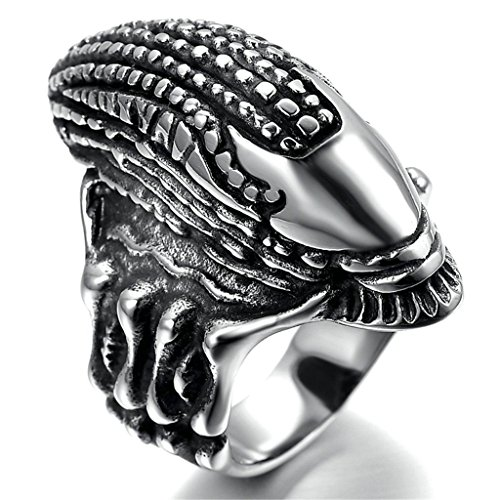 Stainless Steel Ring for Men, Monster Ring Gothic Silver Band 20*40MM Size 8 Epinki