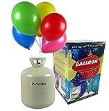 Helium - Marken Ballongas PASAMO - 0,45 m³ Einwegflasche z.B. für ca. 50 Luftballons als witziger Partyspaß - Partyzubehör - Flasche reicht für viele Ballons !