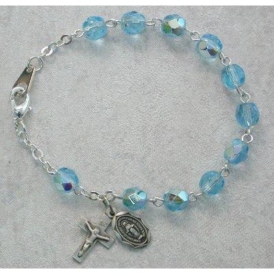 Sterling Silver Youth Girls Rosary Bracelet Aqua March Birthstone.