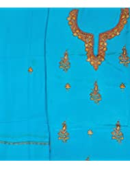Exotic India Blue-Atoll Salwar Kameez Fabric From Kashmir With Sozni Embr - Blue