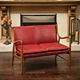 Baconton Red Leather Loveseat