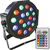 Full RGB Color Mixing LED Flat Par Can - 18 1-watt LEDs - Red, Green and Blue color mixing - Wireless Remote - Up-Lighting - Stage Lighting - Dance Floor Lighting - Adkins Professional Lighting