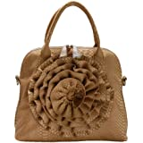 FASH Large Rose Snake Print Textured Top Handle Cross Body Handbag