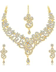 Sukkhi Exquitely Gold Plated AD Necklace Set For Women